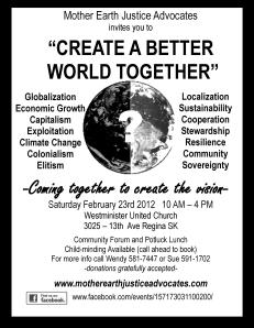 creating a better world B & W poster